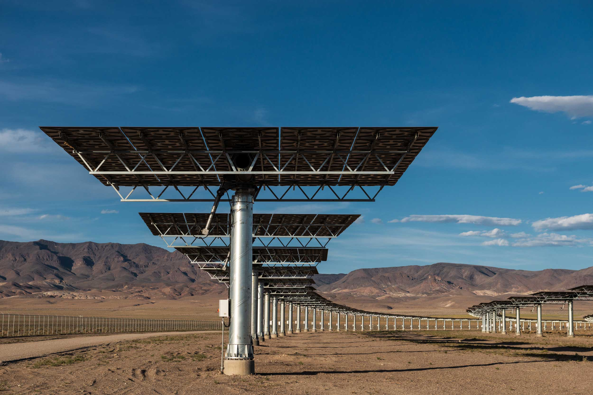 Heliostats (mirrors) at Crescent Dunes Solar, near Tonopah, Nevada, USA