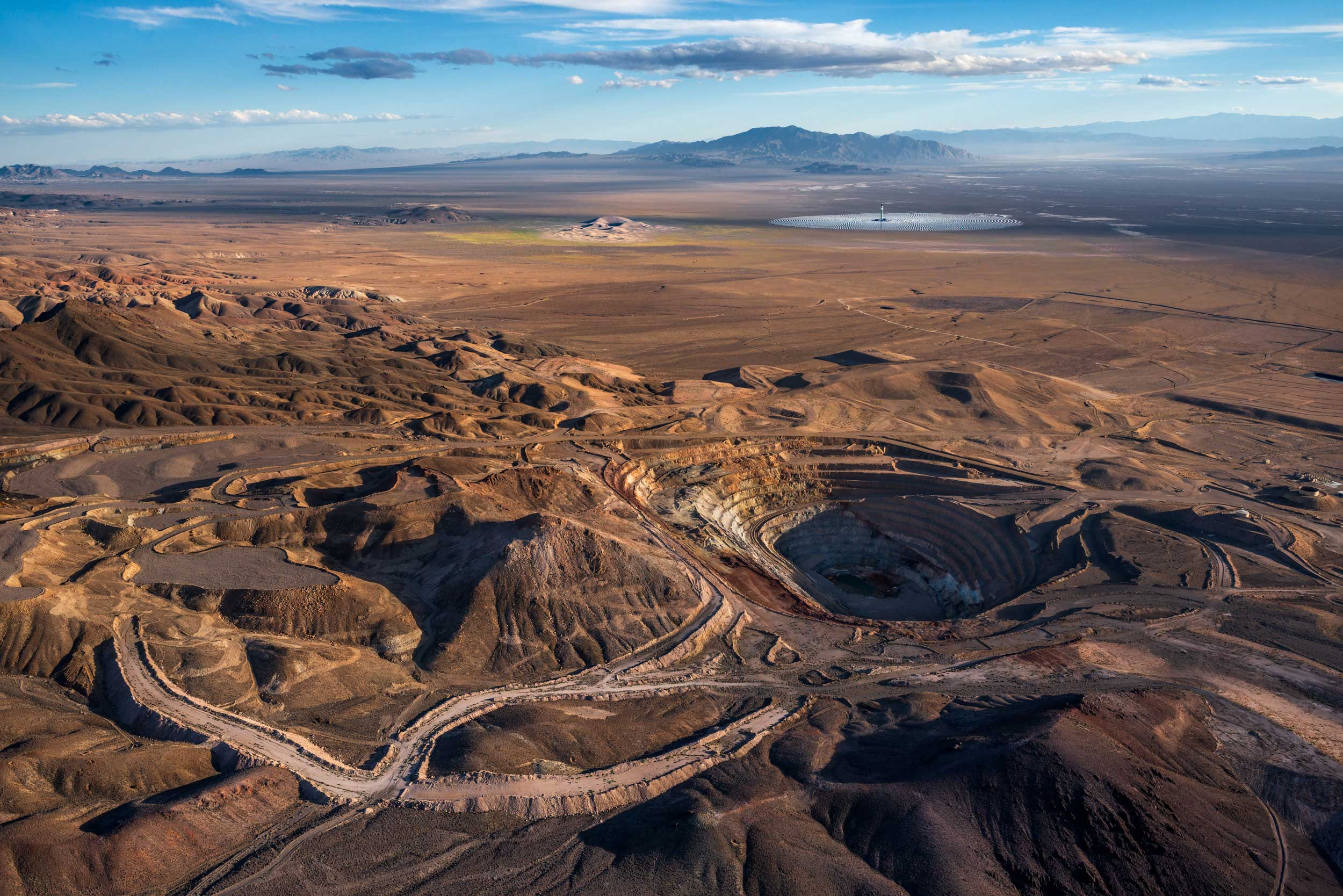 Abandoned/dormant mine to the northeast of Crescent Dunes Solar, near Tonopah, Nevada, USA, aerial photo