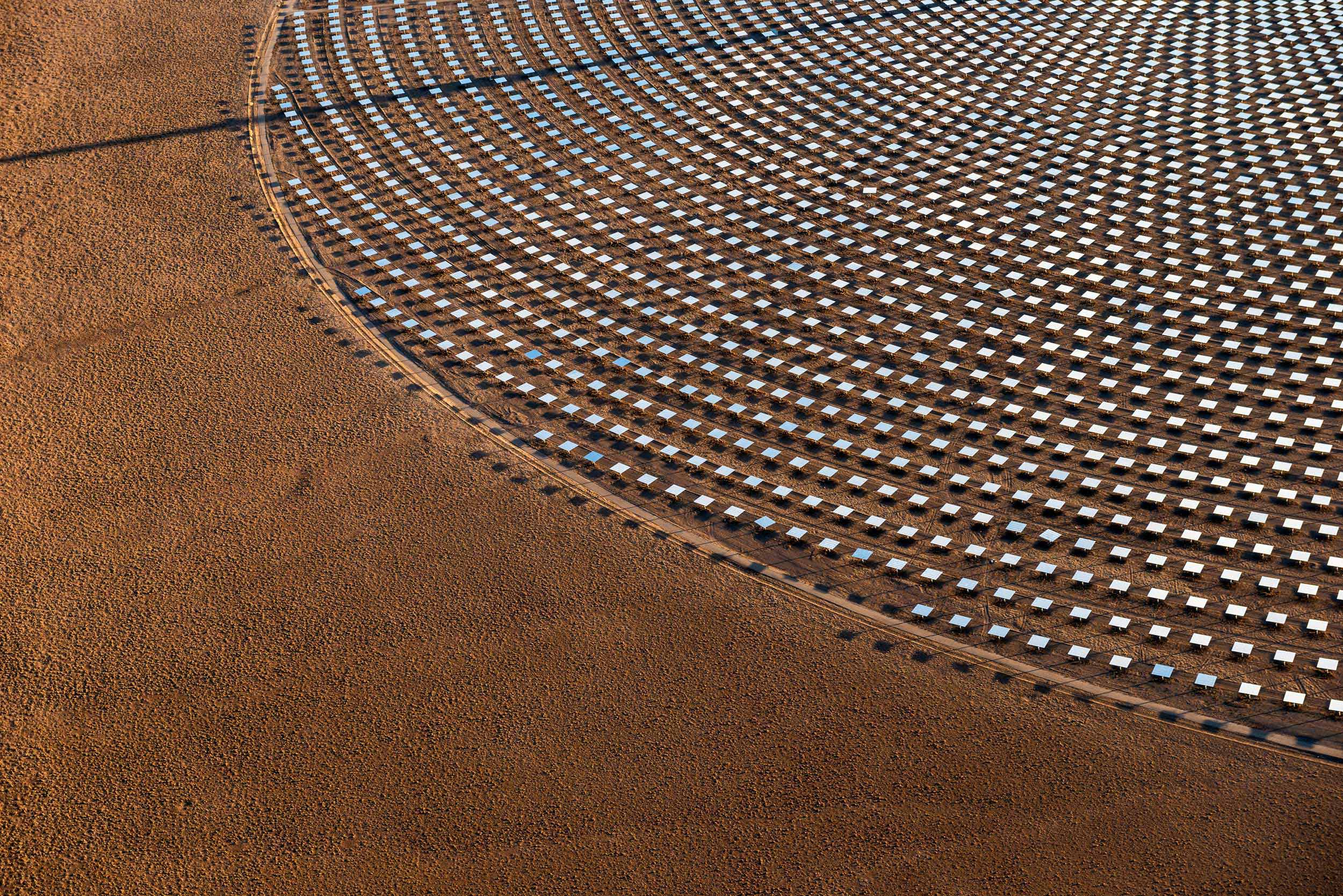 Heliostats at Crescent Dunes Solar, near Tonopah, Nevada, USA