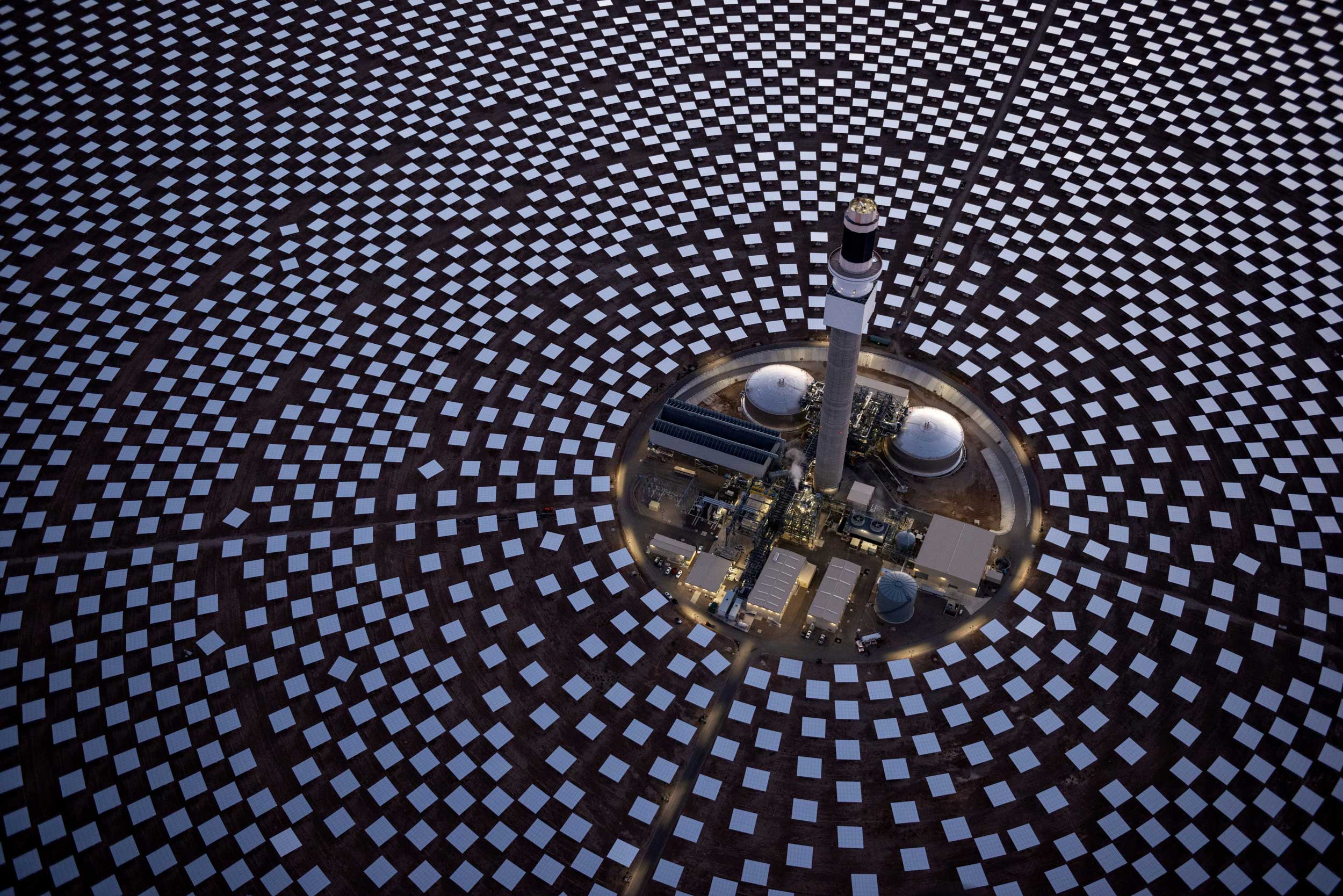 Power block of the Crescent Dunes Solar concentrated solar power plant near Tonopah, Nevada, USA, aerial photo